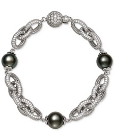 Cultured Black Tahitian Pearl (10mm) & Cubic Zirconia Link Bracelet in Sterling Silver