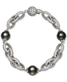 Belle de Mer Black Tahitian Pearl (10mm) & Cubic Zirconia Link Bracelet in Sterling Silver