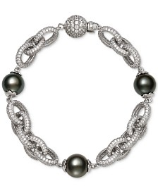 Belle de Mer Cultured Black Tahitian Pearl (10mm) & Cubic Zirconia Link Bracelet in Sterling Silver