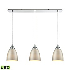 Merida 3 Light Linear Pan Pendant in Polished Chrome with Silver Linen Glass