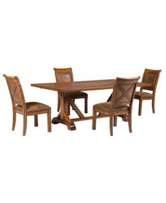 Mandara 5-Pc. Dining Set (Dining Trestle Table & 4 Side Chairs)