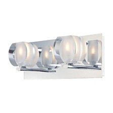 Circo Double Lamp With Rounded Inside Frosted Crystal Glass - Chrome Finish
