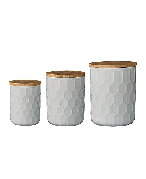 3R Studio Set of 3 White Stoneware Canisters with Bamboo Lids