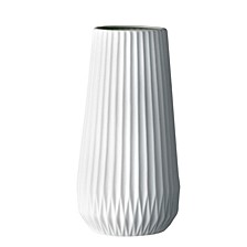 Tall White Ceramic Fluted Vase
