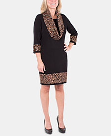 NY Collection Animal-Print Removable-Scarf Sweater Dress