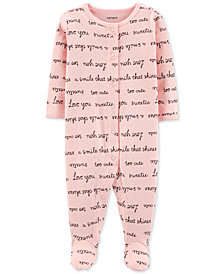 Carter's Baby Girls 1-Pc. Word-Printed Footed Cotton Pajamas
