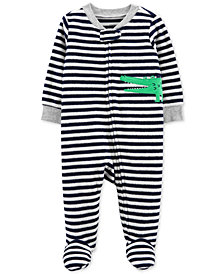Carter's Baby Boys Striped Alligator Footed Pajamas