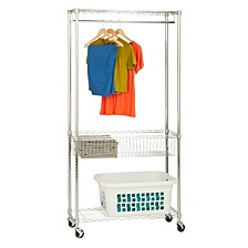 Rolling Laundry Station with Shelves