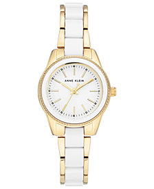 Anne Klein Women's White and Gold-Tone Bracelet Watch 30mm