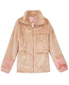 Jessica Simpson Big Girls Colorblocked Reversible Faux-Fur Jacket