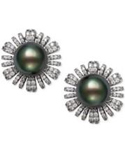 f159e9bbb Belle de Mer Cultured Black Tahitian Pearl (9mm) & Cubic Zirconia Flower  Stud Earrings
