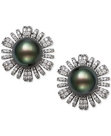 Belle de Mer Cultured Black Tahitian Pearl (9mm) & Cubic Zirconia Flower Stud Earrings in Sterling Silver