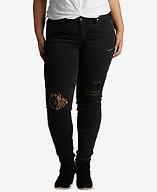 Silver Jeans Co. Plus Size Aiko Lace Rip Skinny Jeans