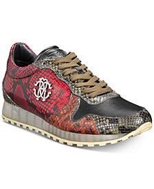 Roberto Cavalli Men's Snakeskin Lace-Up Sneakers