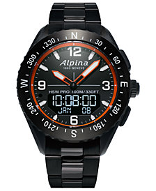 Alpina Men's Swiss Analog-Digital Alpiner X Black Stainless Steel Bracelet Hybrid Smart Watch 45mm