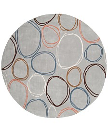 CLOSEOUT! Surya  Cosmopolitan COS-8992 Light Gray 8' Round Area Rug