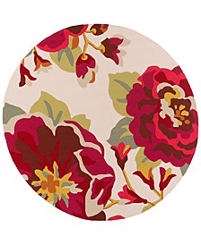 Rain RAI-1230 Dark Red 8' Round Area Rug, Indoor/Outdoor