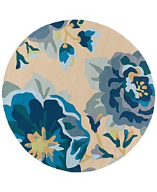 Rain RAI-1231 Bright Blue 8' Round Area Rug, Indoor/Outdoor