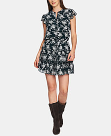 1.STATE Printed Button-Front Ruffled Shirtdress