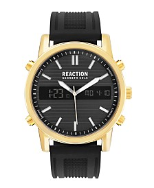 Kenneth Cole Reaction Men's Analog-Digital Black Silicone Strap Watch 44mm