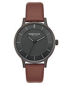 Kenneth Cole New York Men's Brown Leather Strap Watch with Black Classic Dial, 44MM