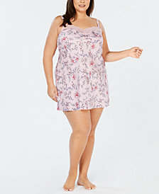 I.N.C. Plus Size Satin Lace-Trimmed Printed Chemise, Created for Macy's
