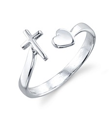Cross and Heart Adjustable Ring in Sterling Silver