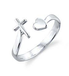 Unwritten Cross and Heart Adjustable Ring in Sterling Silver
