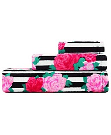 Betsey Johnson Flower Stripe 100% Cotton 3-Pc. Towel Set