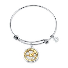 "Two-tone Crystal ""Ohana"" Glass Shaker Adjustable Bangle Bracelet in Stainless Steel for Unwritten Silver Plated Charms"