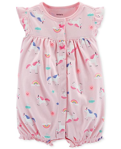 0a4510a6d13c Carter s Baby Girls Unicorn-Print Cotton Romper   Reviews - All Baby ...