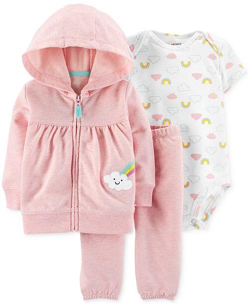 Carter's Baby Girls 3-Pc. Rainbow Hoodie, Bodysuit & Jogger Pants Set