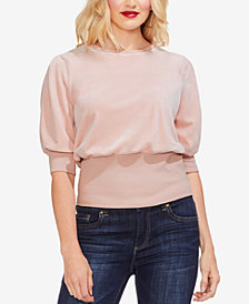 Vince Camuto Puff-Sleeve Velour Top