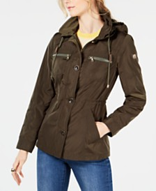 Vince Camuto Hooded Cinched-Waist Anorak