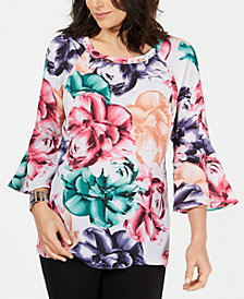 JM Collection Floral-Print Bell-Sleeve Top, Created for Macy's