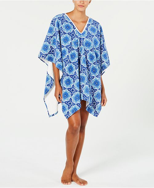 Martha Stewart Collection  CLOSEOUT! Bohemian Rhapsody Beach Poncho, Created for Macy's