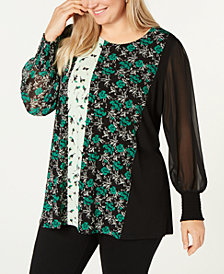 Alfani Plus Size Mixed-Print Tunic, Created for Macy's