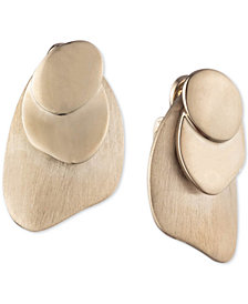 Carolee Gold-Tone Layered Disc Clip-On Drop Earrings