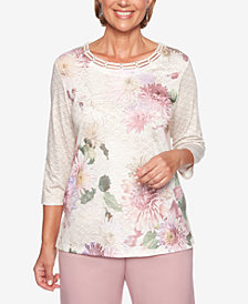 Alfred Dunner Home For The Holidays Lattice Floral-Print Top