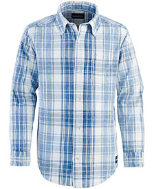 Calvin Klein Big Boys Washout Plaid Cotton Shirt