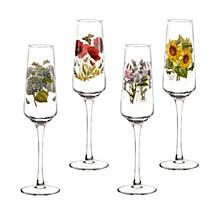 Botanic Garden Champagne Flutes, Set of 4