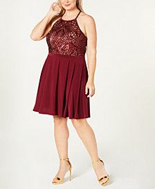 Morgan & Company Trendy Plus Size Sequined Fit & Flare Dress