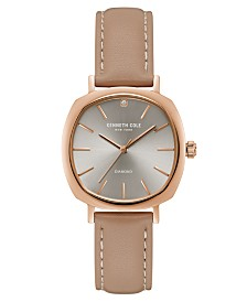 Kenneth Cole New York Ladies Diamond Brown Leather Strap Watch 34mm