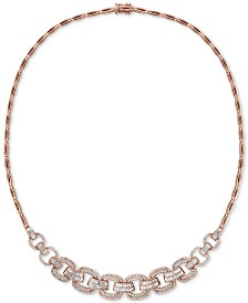 "EFFY® Diamond Link 15"" Collar Necklace (2-1/10 ct. t.w.) in 14k Rose Gold"