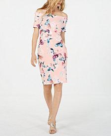 Calvin Klein Floral-Printed Off-The-Shoulder Sheath Dress