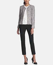 Tweed Jacket, Side-Twist Top & Skinny Pants