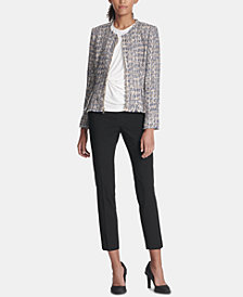 DKNY Tweed Jacket, Side-Twist Top & Skinny Pants, Created for Macy's