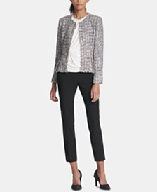 DKNY Tweed Jacket, Side-Twist Top & Skinny Pants