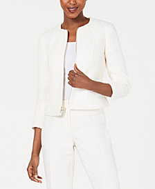 Anne Klein Tweed Zip-Front Jacket