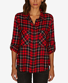 Sanctuary Plaid Snap-Front Boyfriend Shirt, Created for Macy's